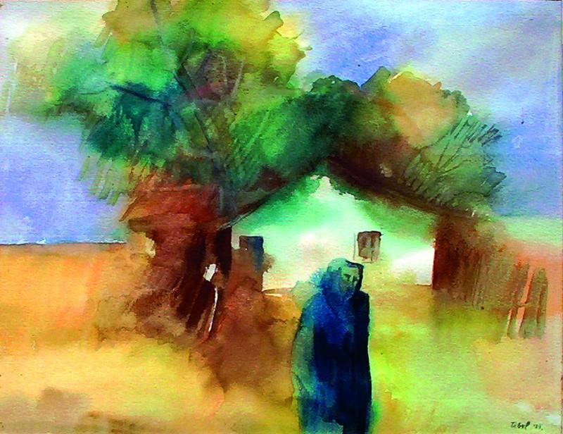 Az elhagyott tanya  1985  40x30 cm  papír, akvarell