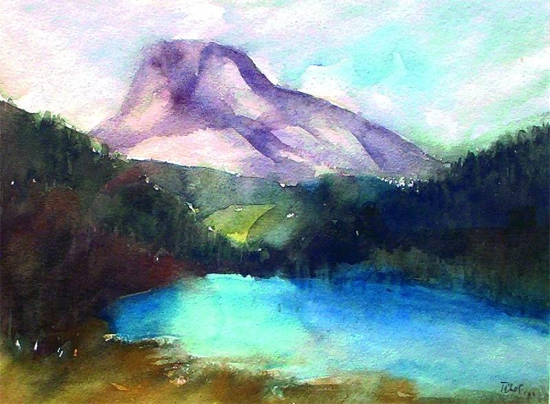 A Gyílkos-tó 1993 36x27 cm papír, akvarell