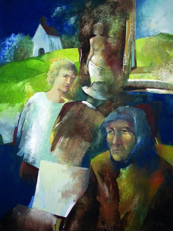 Szárhegyi történet 1996 60x80 cm farost, olaj - Gyergyószárhegy Múzeum
