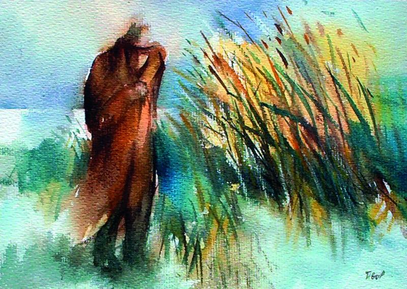 Téli Balaton 1997 38x27 cm papír, akvarell