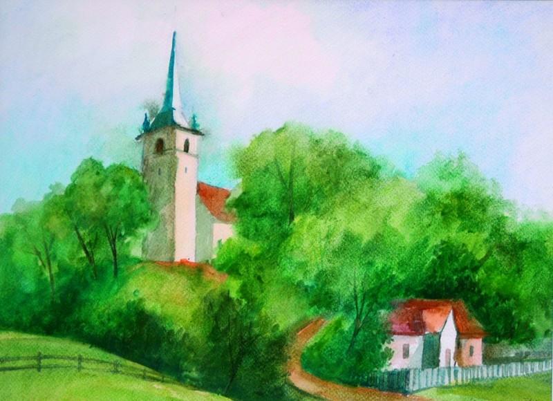 A csíkrákosi templom 2001 42x31 cm papír, akvarell