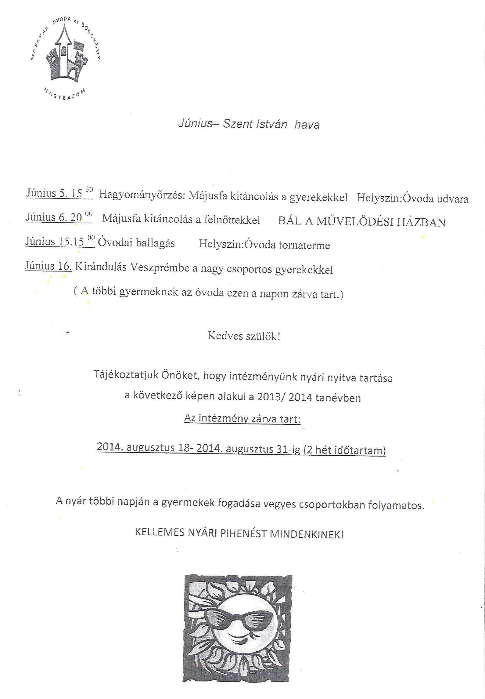 Mesevár Óvoda júniusi program, nyári szünet