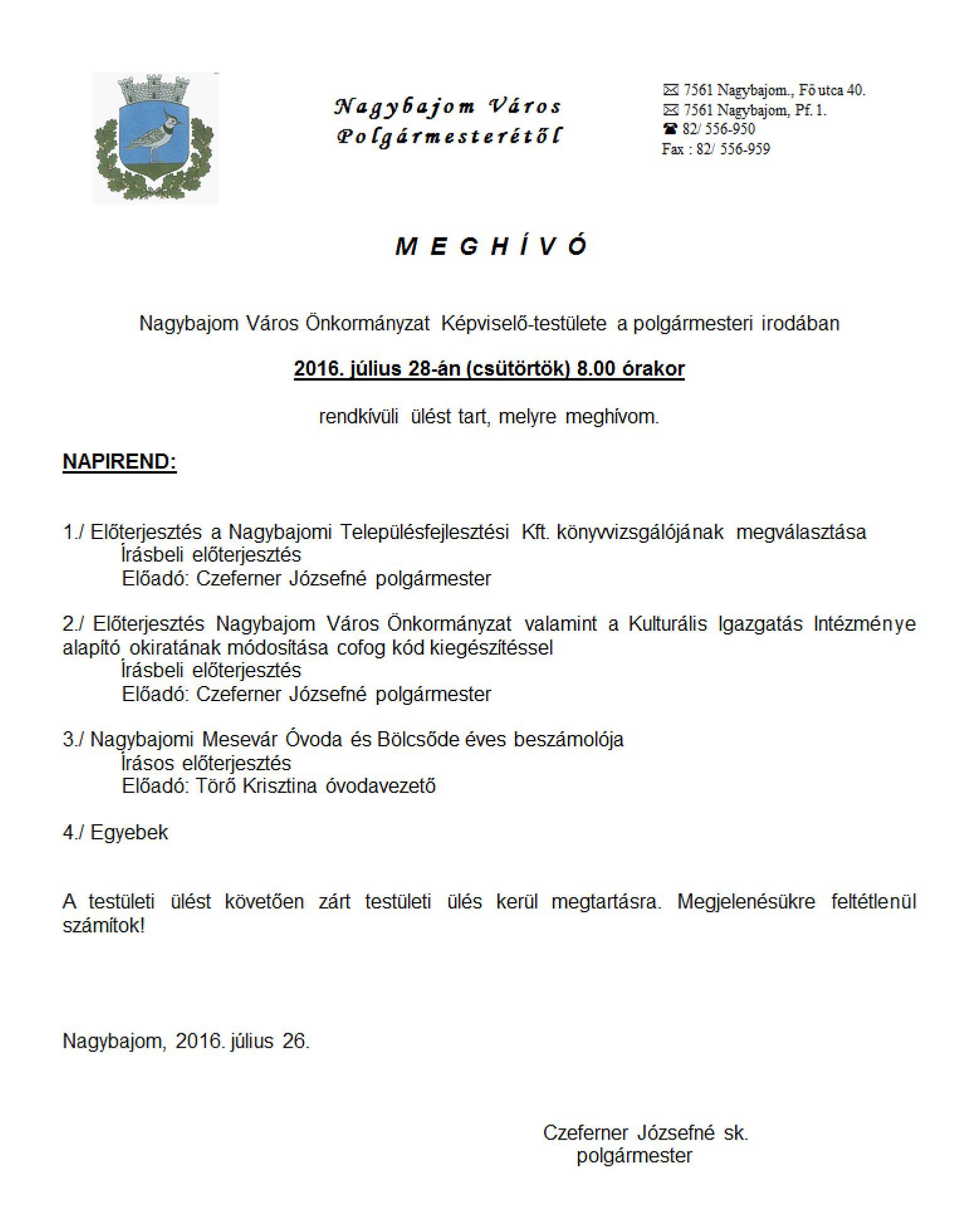 Képviselő-testületi ülés07.28